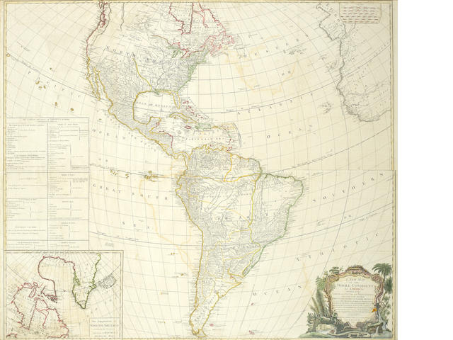 AMERICAS D'ANVILLE (JEAN BAPTISITE BOURGUIGNON) A New Map of the Whole Continent of America