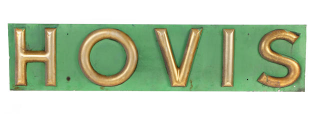 A pair of 20th century painted sheet metal advertising signs, for Hovis