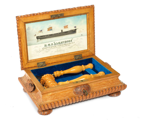 A carved oak launching casket, HMS Albatross 1873. 13x9x6ins.(33x23x15cm)