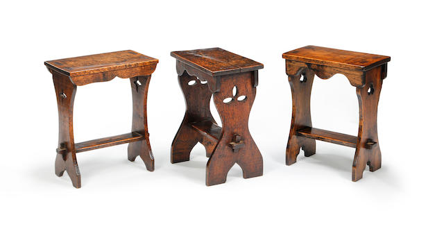 Three similar oak boarded stools 20th century