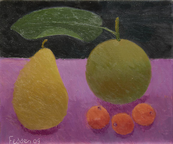 Mary Fedden R.A. (British, 1915-2012) Still life with apple and pear