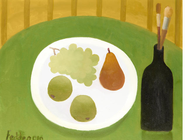 Mary Fedden R.A. (British, 1915-2012) Still life with black bottle and plate of fruit