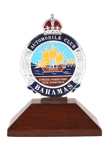 A Nassau Bahamas enamel car badge, (TBD)
