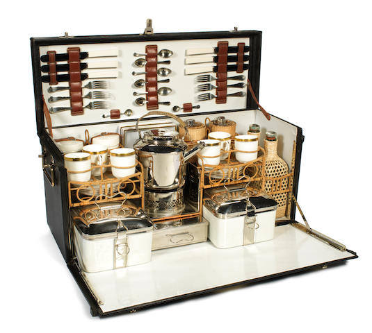 A fine leather cased picnic set for six persons, by G W Scott & Sons, circa 1910,
