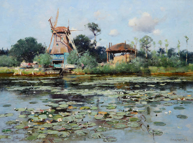Frank Richards (British, 1863-1935) The mill pond