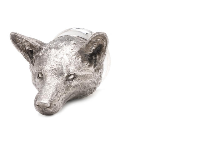 A modern silver stirrup cup modelled as a fox head