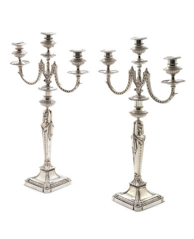 A pair of Victorian  silver-plated three-light candelabra by Elkington & Co, 1875  (2)