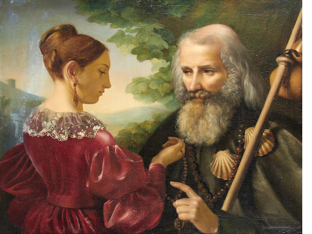 Julie Noel, St Jacques de Compostelle and a woman, oil on canvas