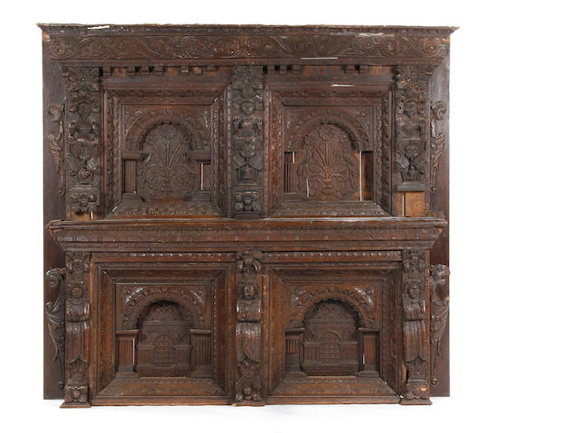 Large part 17th century oak overmantel
