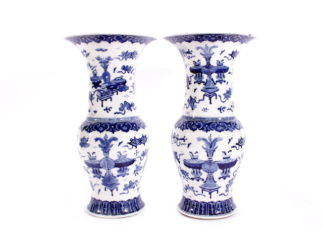 A pair of Chinese blue and white baluster vases
