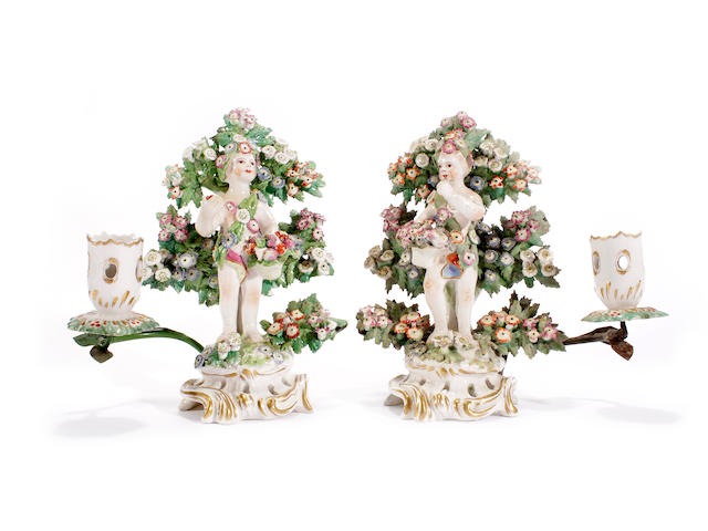 A pair of Bow figural candlesticks, circa 1770