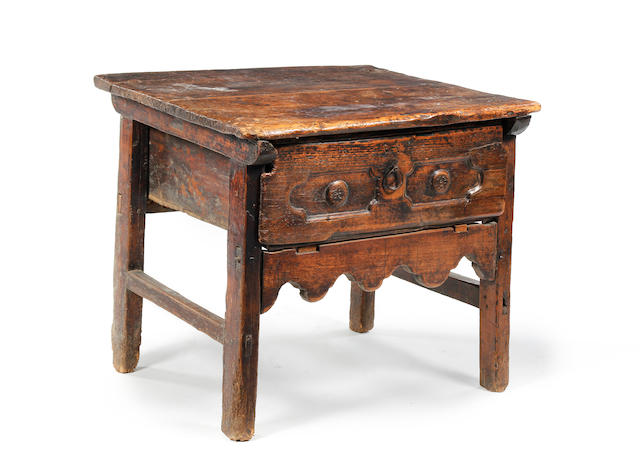 A late 17th century chestnut and pine rent table, Spanish