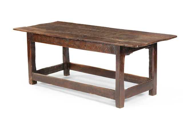 An oak refectory table Incorporating 17th century timbers