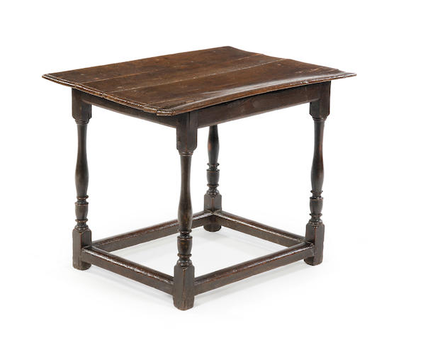 A late 17th century oak centre table  Circa 1690