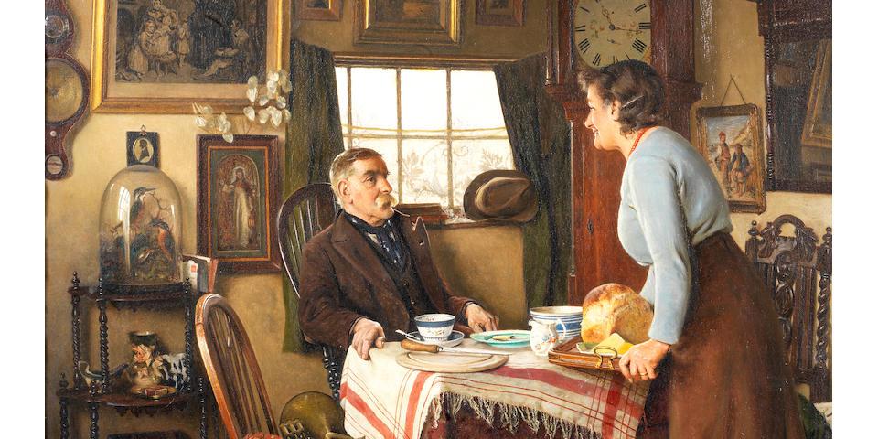 Charles Spencelayh, RMS, HRBSA (British, 1865-1958) Elevenses