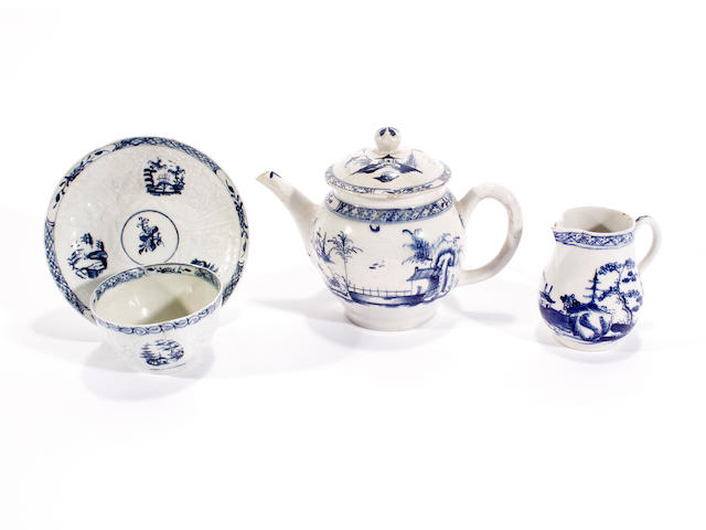 A Lowestoft teapot and cover, a sparrow beak jug and a teabowl and saucer, circa 1765