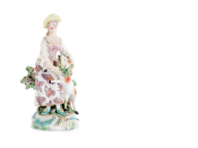 A Derby figure of a shepherdess, circa 1770