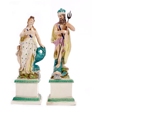 A pair of pearlware figures of Neptune and Venus, circa 1790