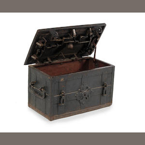 A 17th century iron and iron bound strong box or 'Armada Chest', German