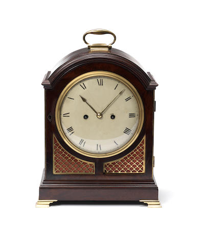 A George III mahogany and brass mounted bracket clock by Richard Reeves, London