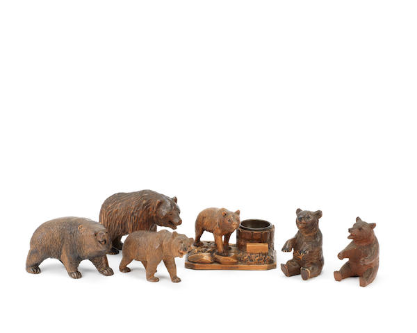 A group of six late 19th/early 20th century Black Forest carved wood models of bears
