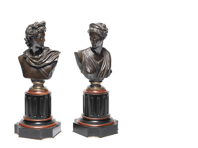 Two late 19th century patinated bronze busts of Diana the Huntress and Apollo Belvedere
