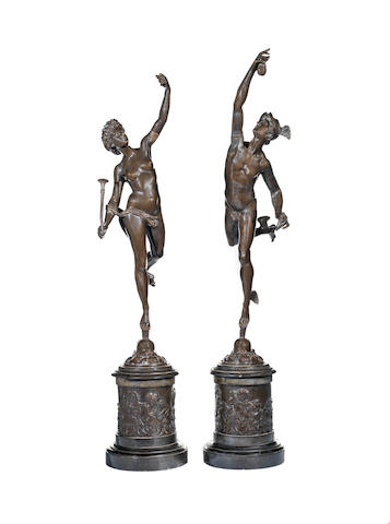 After Giambologna, Italian (1521-1608)  A pair of 19th century bronze figures of Mercury and Fortuna