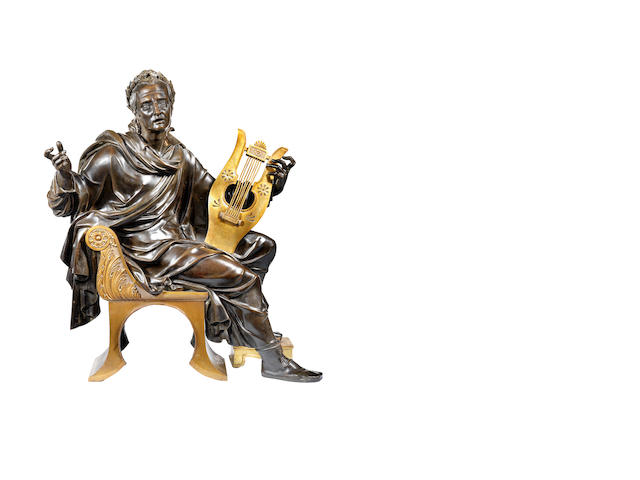 A late 19th century French bronze and parcel gilt figure of an Emperor