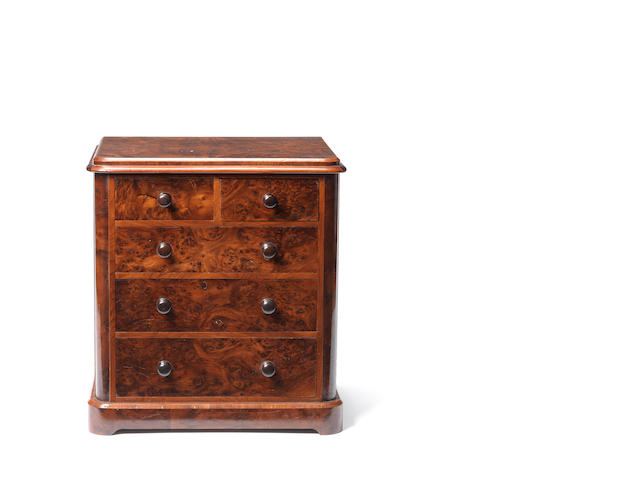 A Victorian yew and burr yew miniature chest of drawers