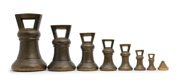 A set of seven George IV brass alloy Imperial Avoirdupois bell weights, for the City of Durham, dated 1825by Dr Grave, London