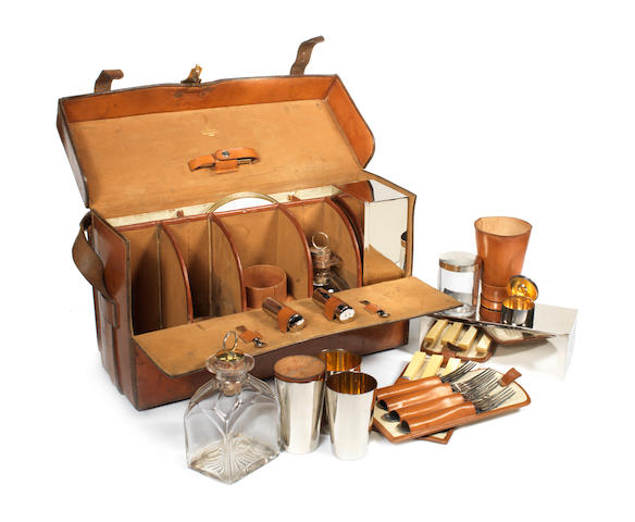 A fine leather cased drinks and picnic set for four persons, by Walter Thornhill & Co., New Bond St London, circa 1900,