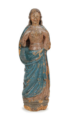 17th century polychrome painted figure