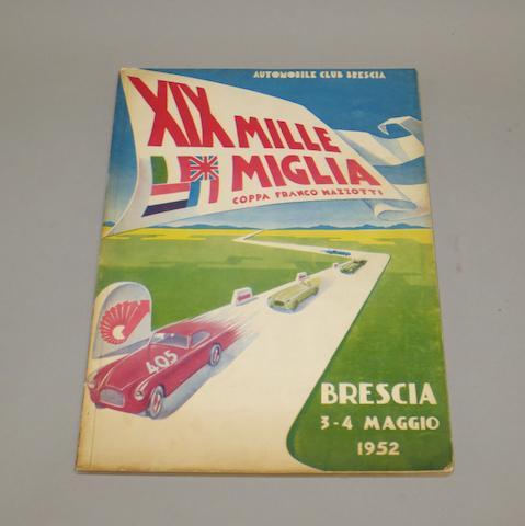 A 1952 Mille Miglia programme,