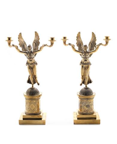 A pair of late-19th/early 20th century gilt-metal two-light candelabras  (2)