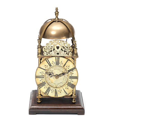 An 18th century and later brass lantern clock by Thomas Speakman, London