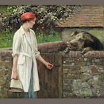 William Gunning King (British, 1859-1940) Feeding the hog