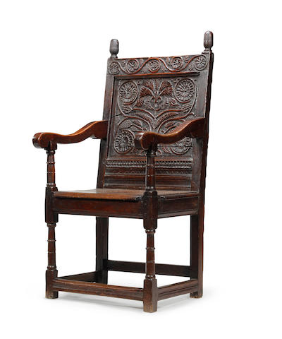 A late 17th century oak open armchair Circa 1680-1700, South Lancashire/North Cheshire