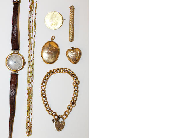 A small collection of gold jewellery items,