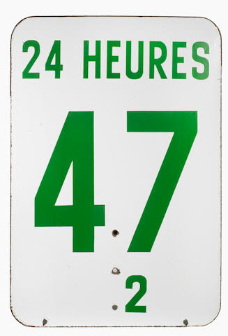 A Le Mans '24 Heures/BP' double-sided enamel sign,