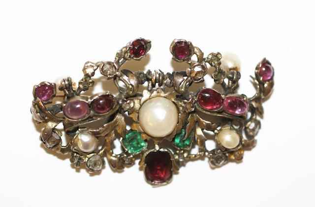A vari gem-set brooch,