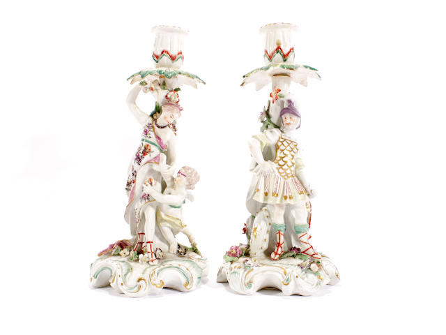 A good pair of Derby candlesticks of Mars and Venus, circa 1765