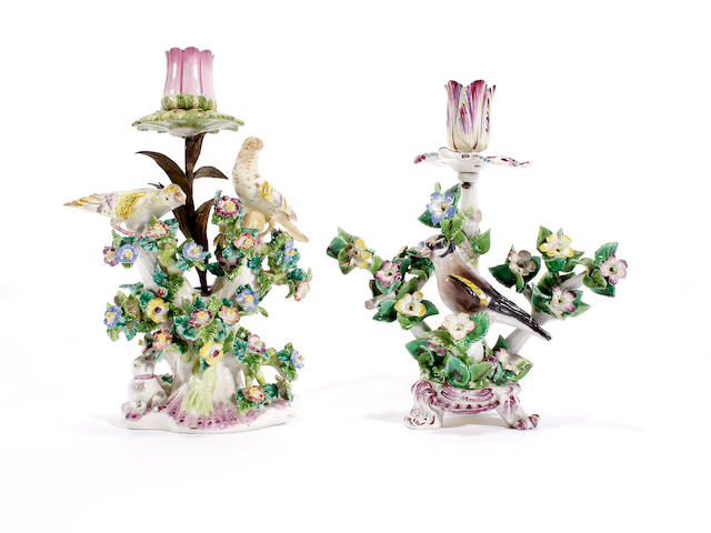 A Bow candlestick and a 'Birds in Branches' group, circa 1765-70