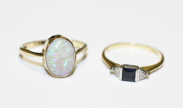 An opal single stone ring and a sapphire and diamond ring, (2)