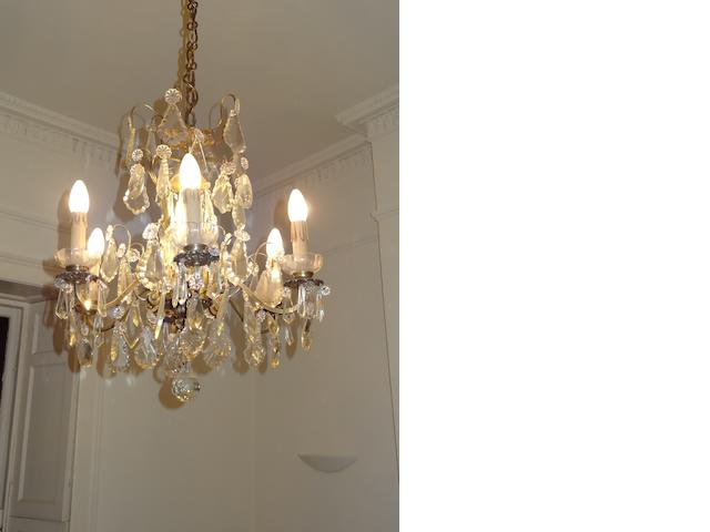 A chandelier, cut glass