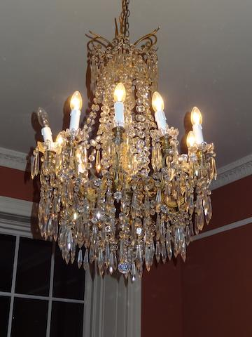 A chandelier, 10-light cut-glass