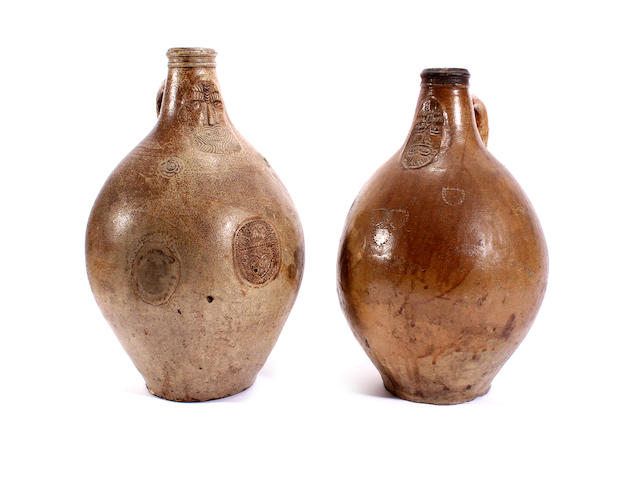 Two large Bellarmine jugs, late 17th and early 18th century