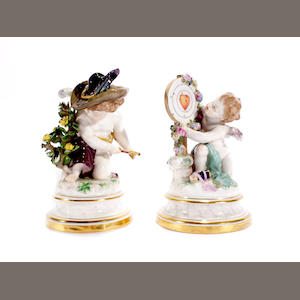 A pair of Meissen figures of Cupid, circa 1880-90