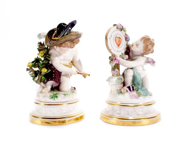 A pair of Meissen figures of Cupid, circa 1880-90
