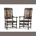 Two Charles II style walnut chairs  Incorporating some period timbers