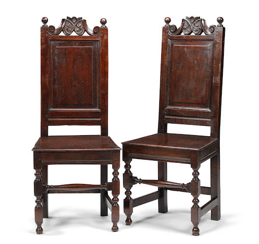 A pair of oak backstools, circa 1700